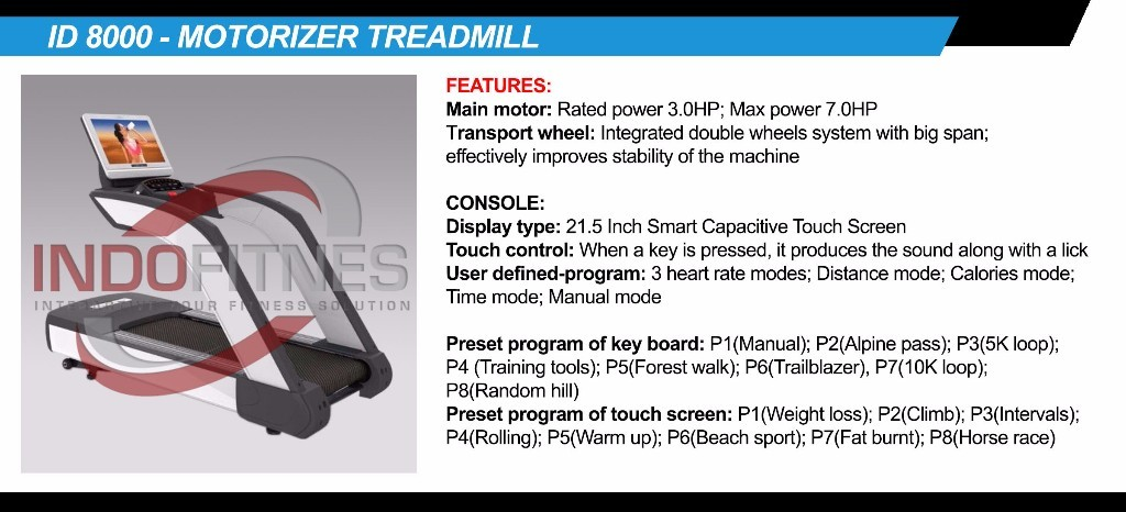 Treadmill Komersial ID-8000AC 6HP AC